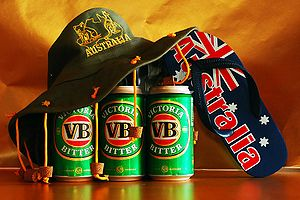Australiana: a cork hat on a sixpack of VB