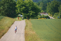 Green field & green person