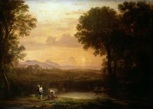 BAL51373 Landscape at Dusk by Claude Lorrain (Claude Gellee) (1600-82); Hermitage, St. Petersburg, Russia; French, out of copyright